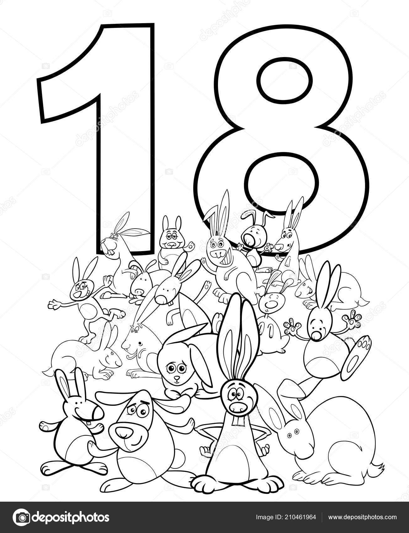 Ilustracion Dibujos Animados Blanco Negro Numerociocho
