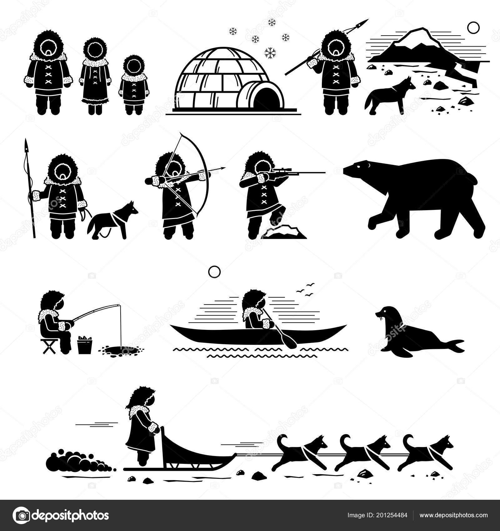 Eskimo People Lifestyle Animals Stick Figure Pictogram