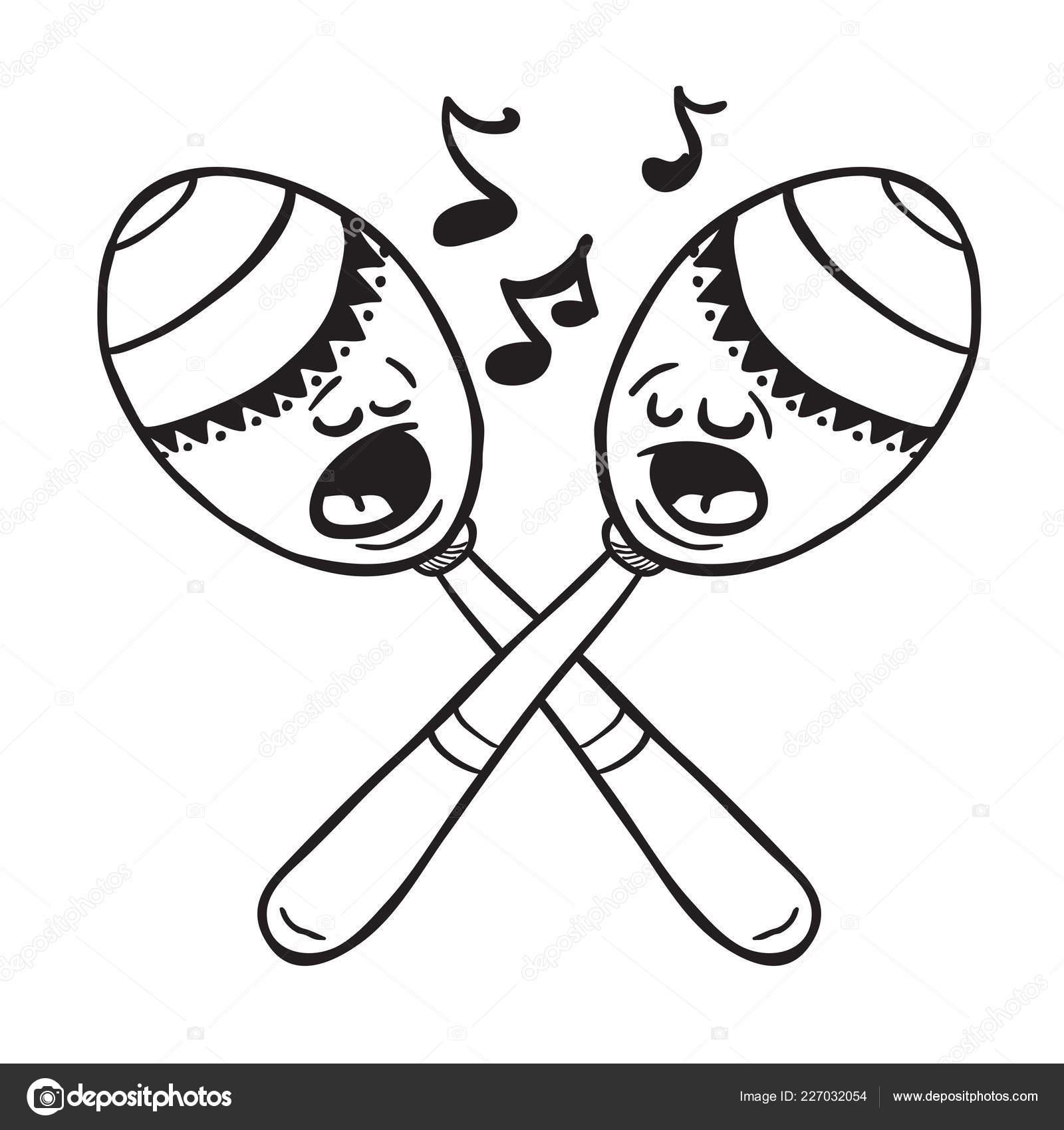 Blanco Negro Maracas Cantando Ilustracion Dibujos Animados