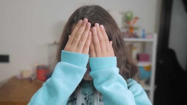 Peek A Boo Little Girl Covered Her Eyes Face With Her Hands Hide And Seek Waiting Lifestyle For A Surprise Slow Motion Video Teen Girl Playing Bo Peep Childhood Concept Game Hy Spy