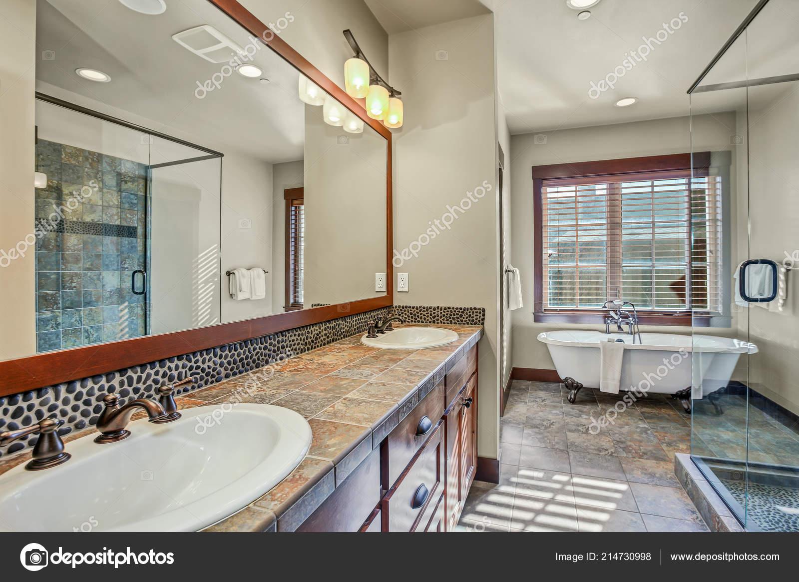 Master Bathroom Double Sink Vanity Cabinet Walk Shower