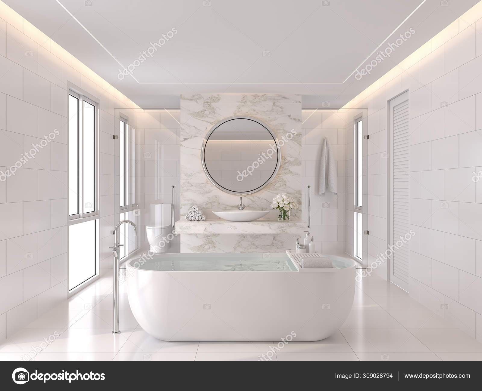 luxurious white bathroom modern style render room has white tiles stock photo image by c onzon 309028794