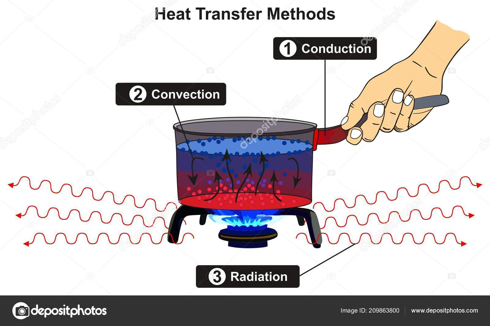 Heat Transfer Methods Infographic Diagram Including