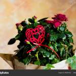 Red Roses Bouquet Red Heart Message Card Image Valentines Day Stock Photo C Yulia25 List Ru 244284152