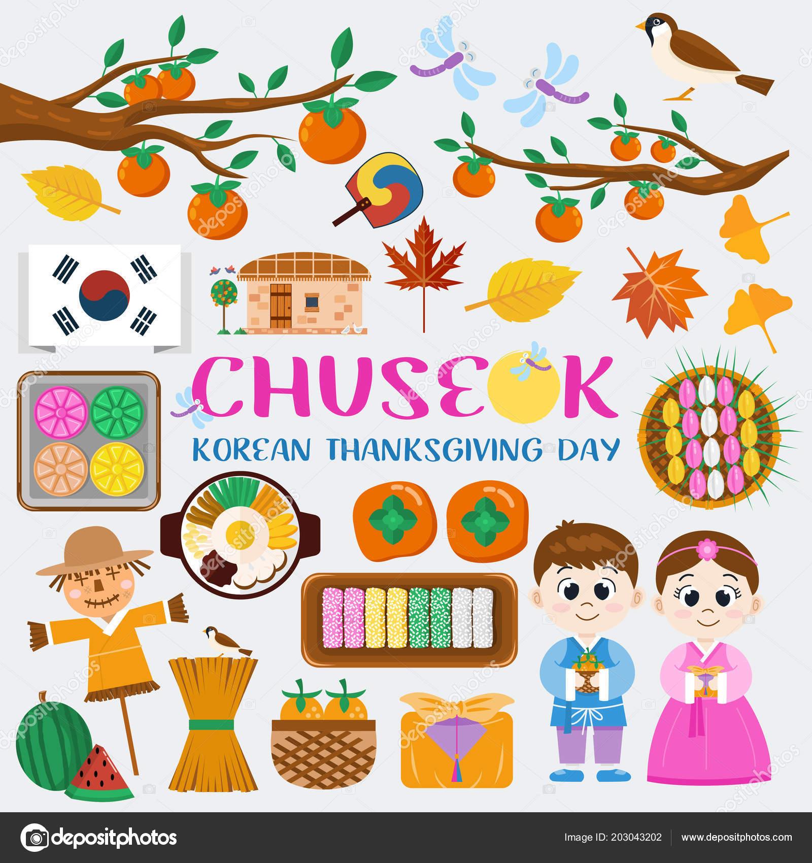 Flat Design Icons Chuseok Korean Mid Autumn Festival