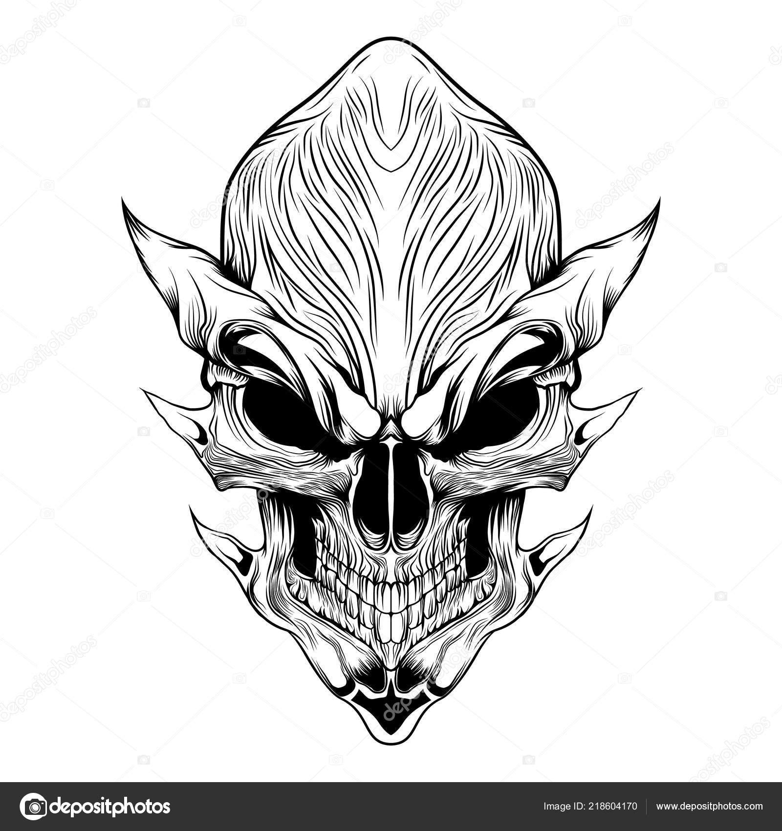 Devil Evil Skull Vector Illustration Line Art