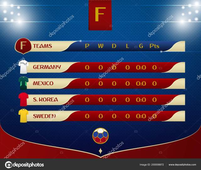 Soccer Football Results Table Template Design Schedule Soccer Matches Dot Stock Vector