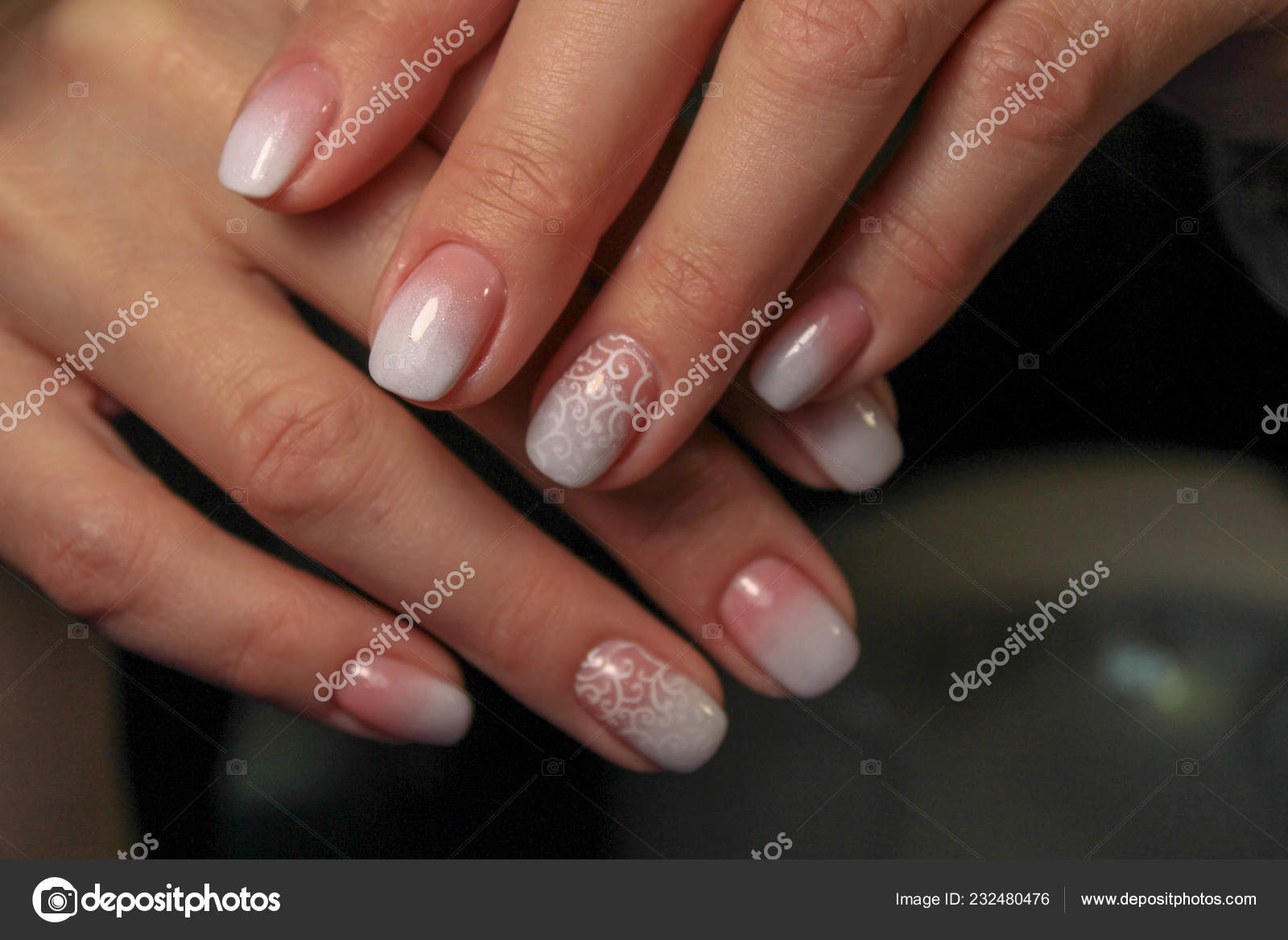 Hands Beautiful Manicure Natural Nails Gel Polish Stock Photo
