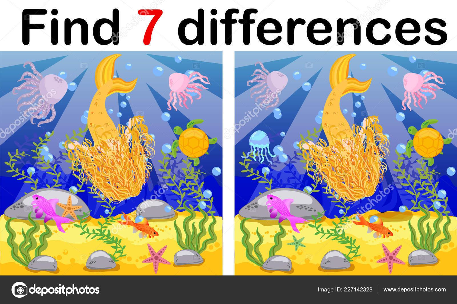 Find Differences Game Children Mermaid Underwater Cartoon Style Education Game