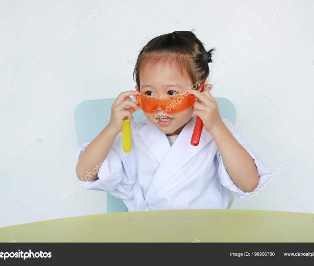 Asian Child In Scientist Uniform Holding Test Tube With Liquid Isolated On White Background Photo By Civic_dmhotmail Com