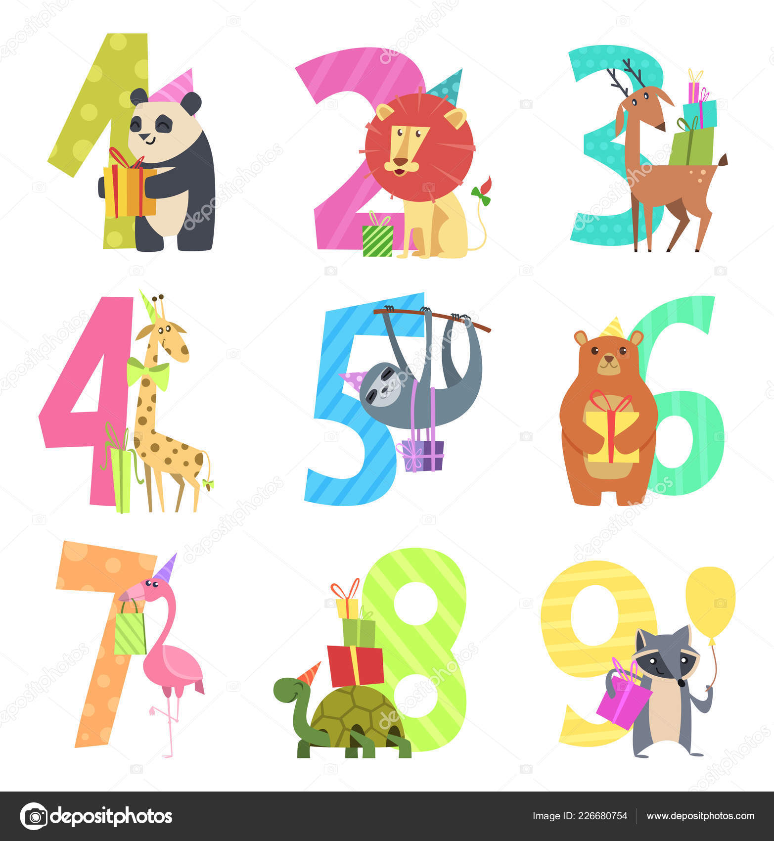 Birtday Numbers Animals Party Fun Invitation For Kids