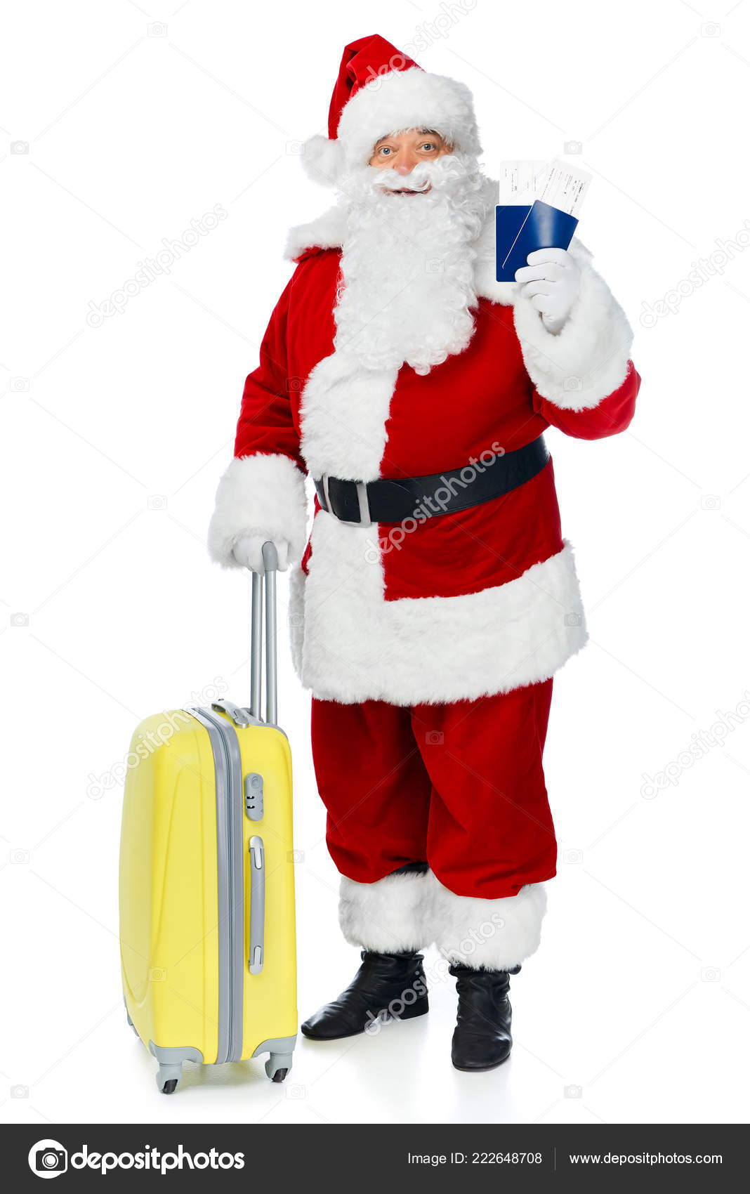 Santa Claus Travel Bag Holding Two Passports Air Tickets
