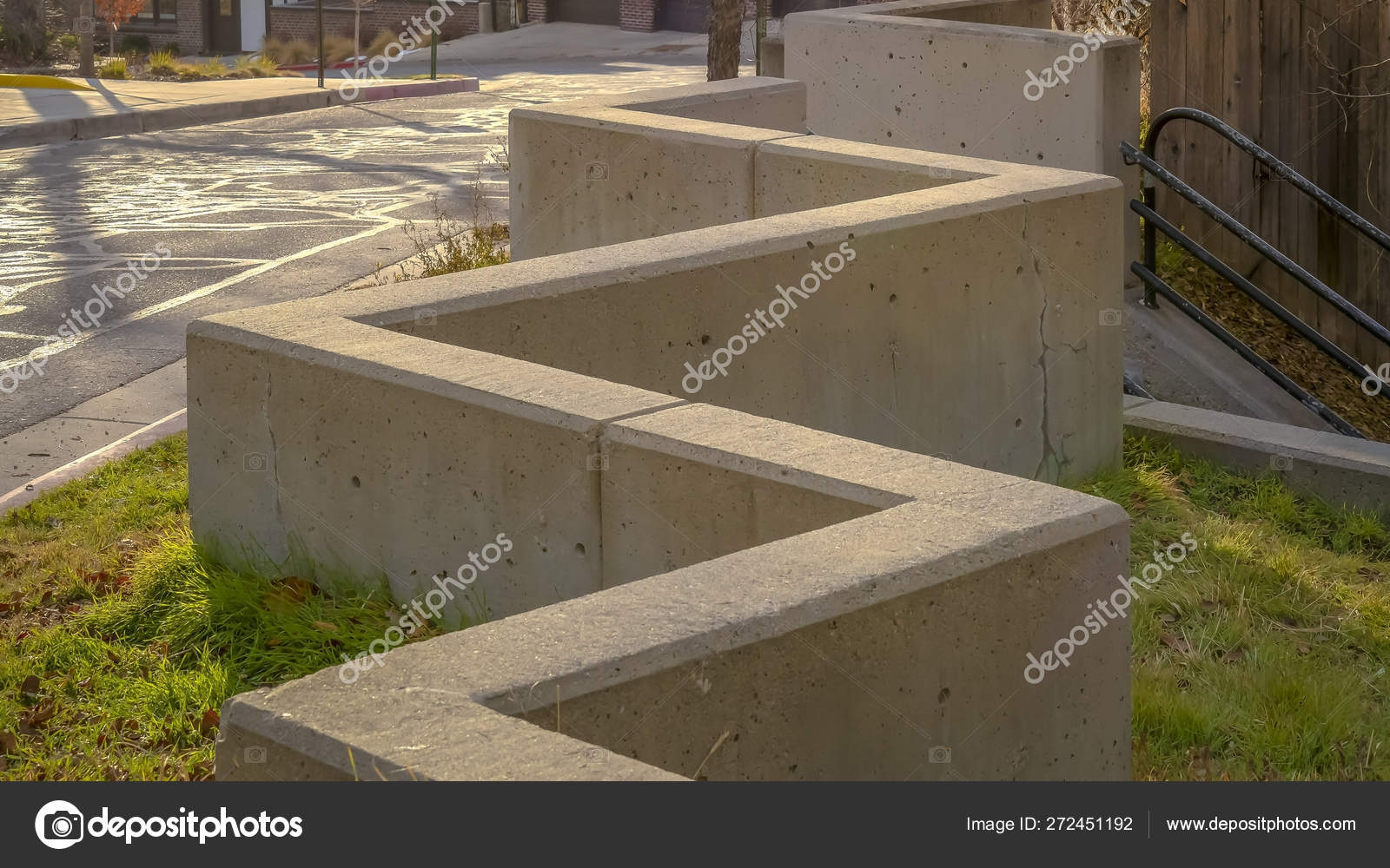 Panorama Outdoor Stairs Connected To A Zig Zag Concrete Barrier | Concrete Stairs Design Outdoor | Beautiful | Roof Deck | Storage Underneath | Exterior | Modern