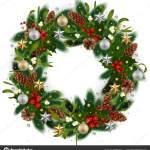 Illustration Christmas Wreath Fir Tree Branches Mistletoe Holly Berries Fir Vector Image By C Angeliina Vector Stock 237922742