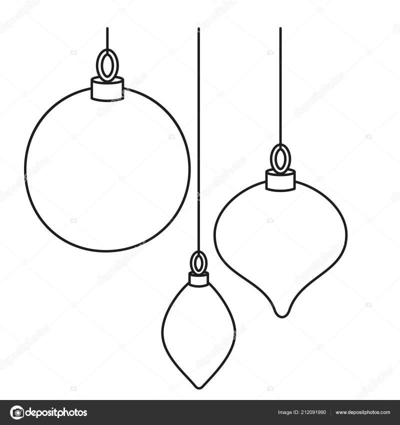 Line Art Black White Christmas Tree