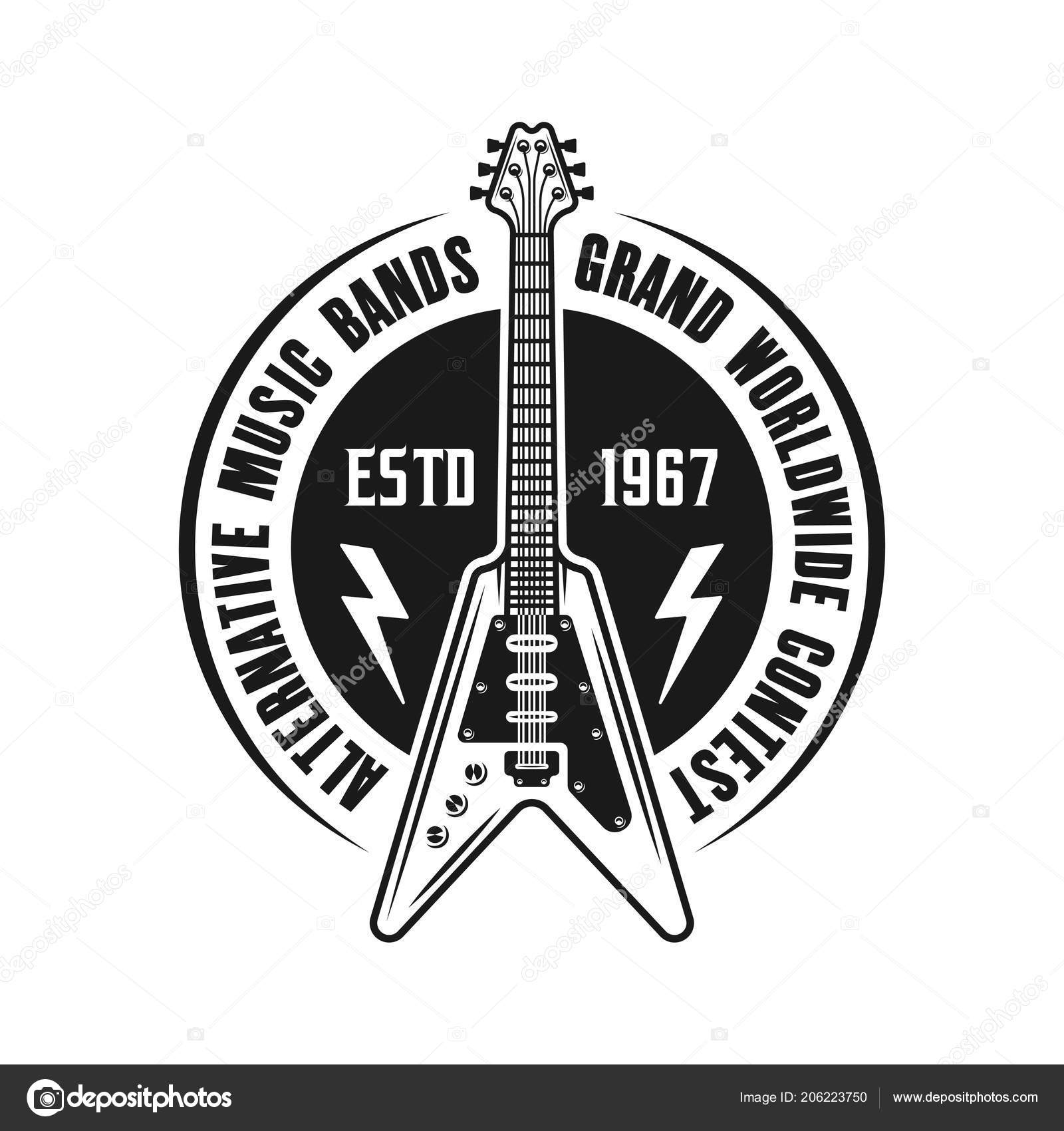Rock Music Vector Emblem With Electric Guitar