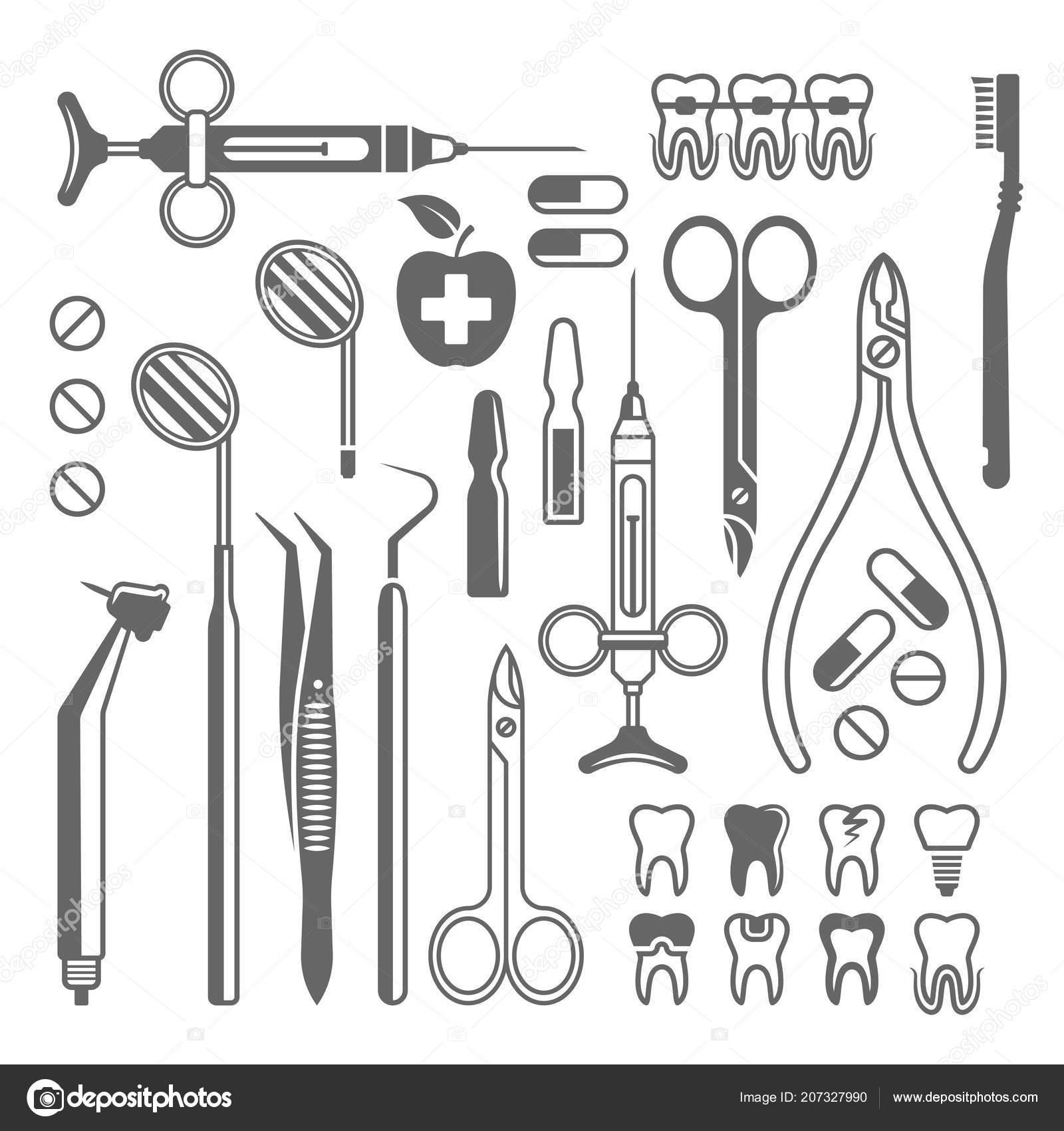 Herramientas Dentales Conjunto De Equipo De Iconos De