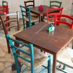 Wooden Tables Colorful Chairs Restaurant Used Traditional