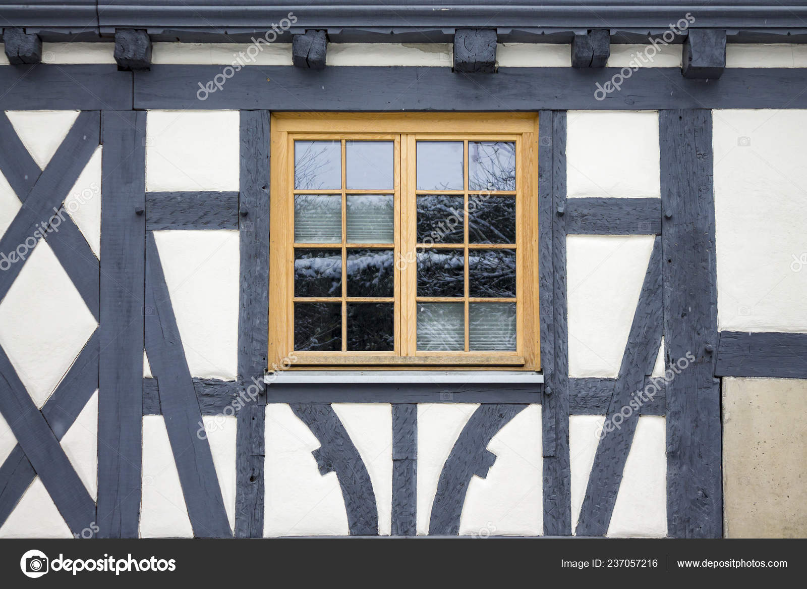 Old Ancient Wooden Window With Blind Or Shutters Stock