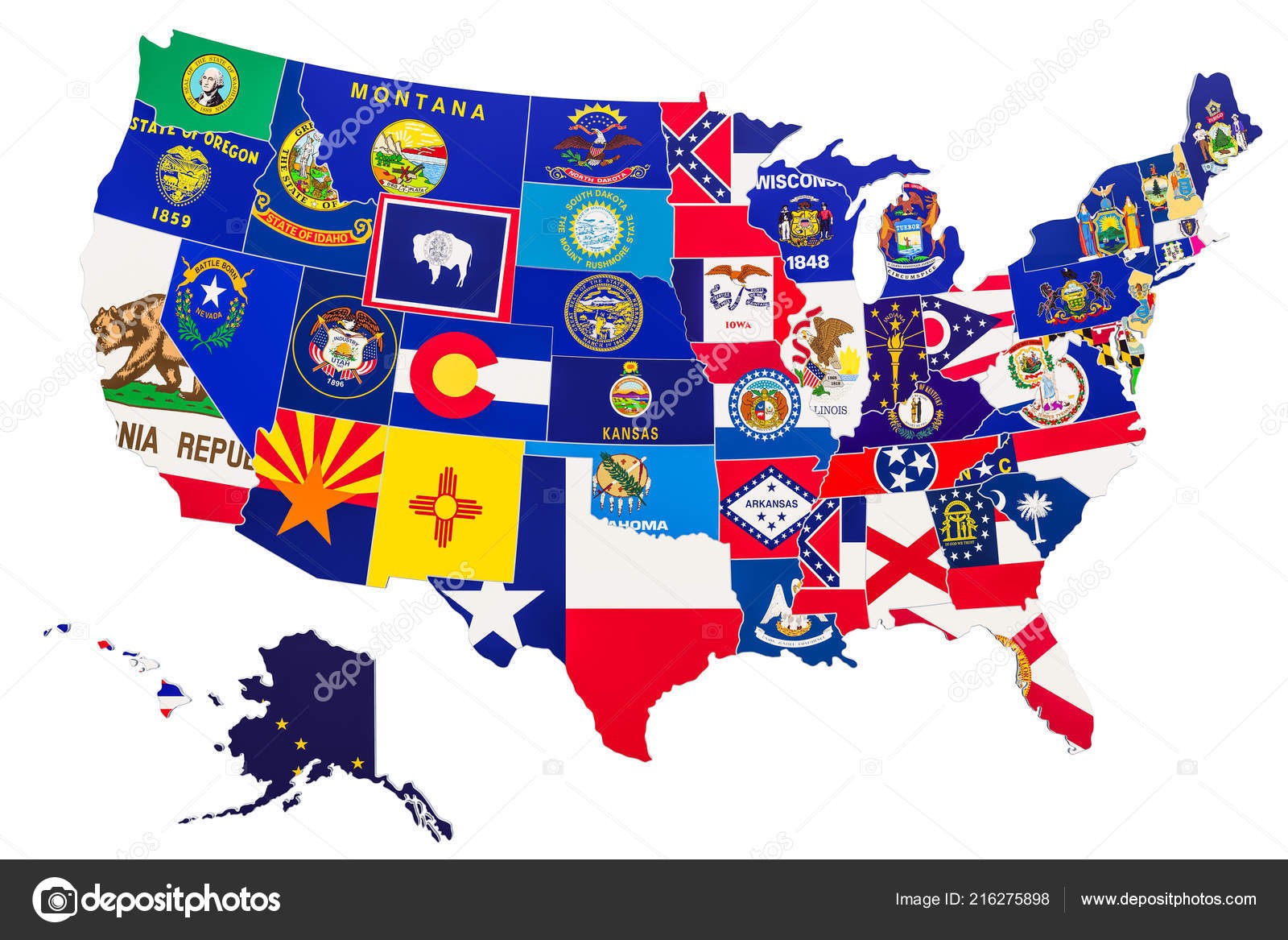 United States America Map State Flags Rendering Isolated