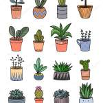 Hand Drawing Home Plants Pots Cartoon Doodles Isolated Elements Vector Image By C Alenaganzhela Vector Stock 257713086