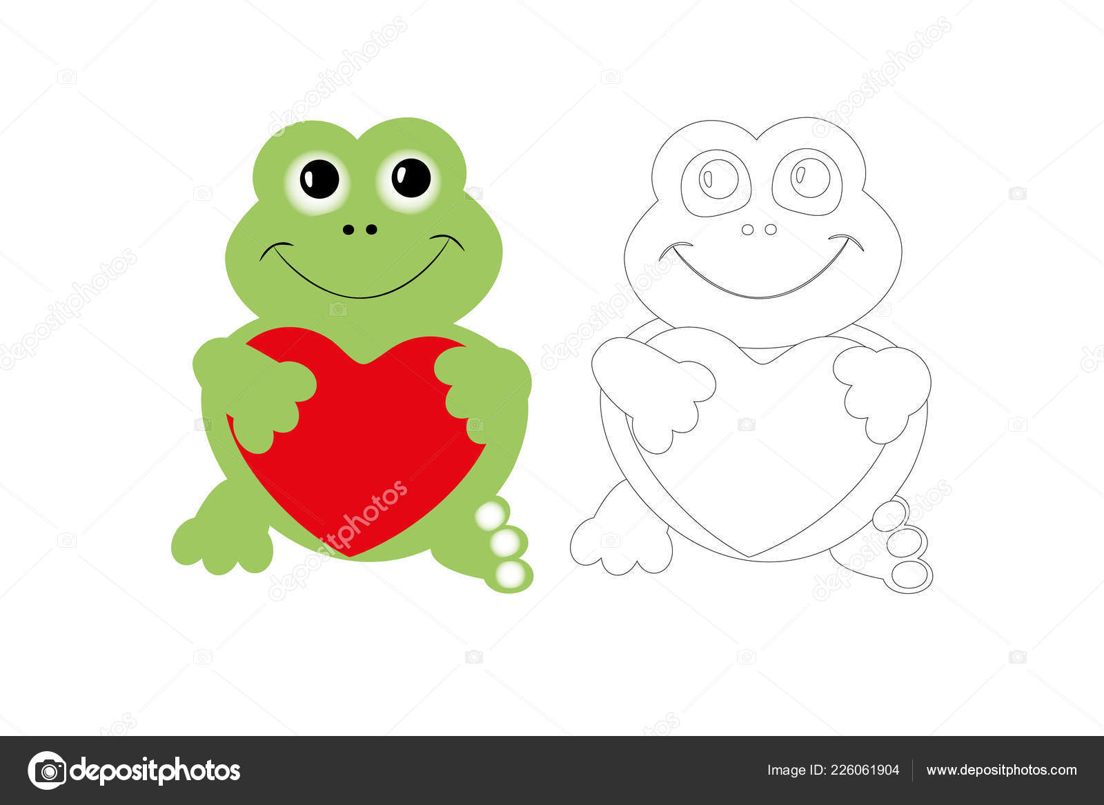 Coloring Page Cute Frog Colorful Sample Printable