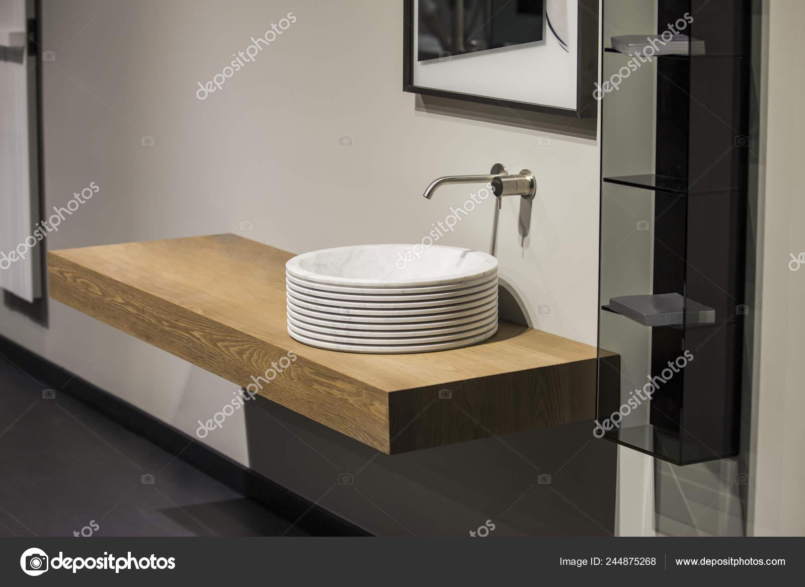 modern gray beige bathroom wooden cabinet basin mirror stock photo image by c olga prava 244875268
