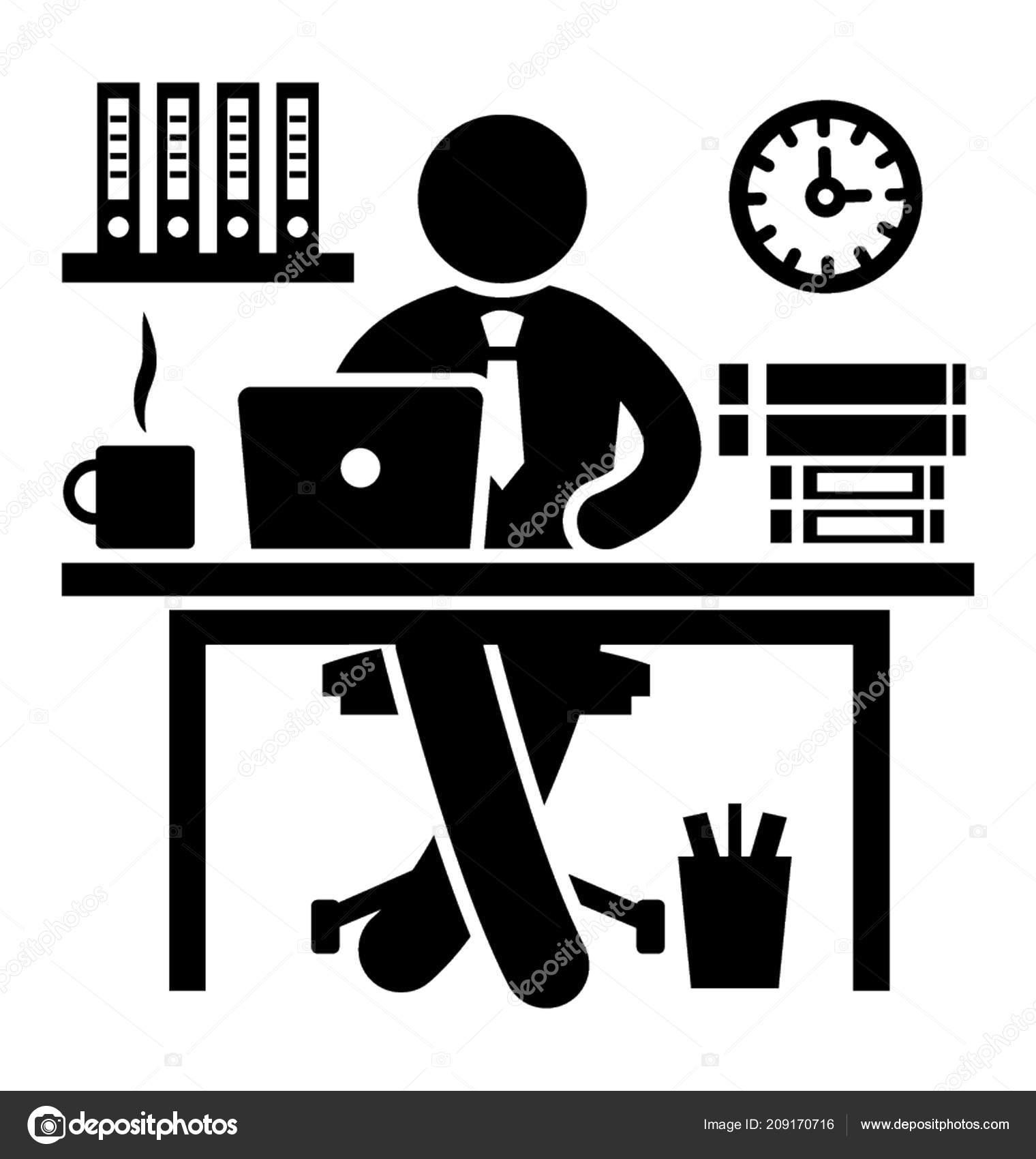 Office Worker Sitting His Office Desk Laptop Best Icon