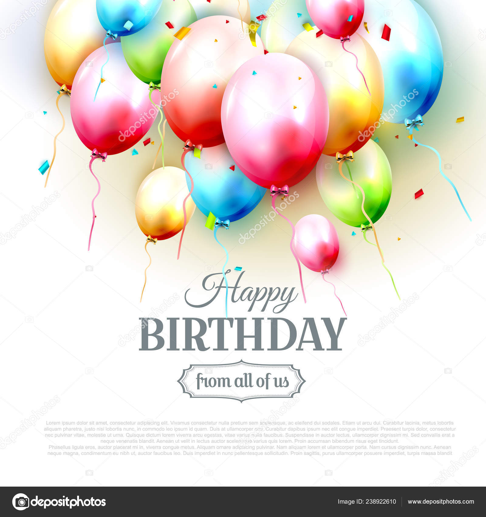 Happy Birthday Greeting Card Colorful Birthday Balloons White Background Vector Image By C Kaktus2536 Vector Stock 238922610