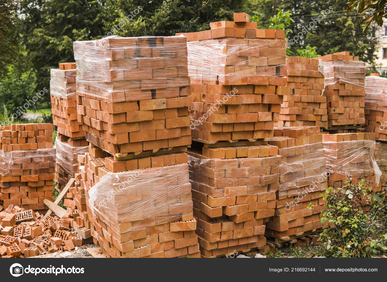 Stack Of Red Brick For Construction Common Quality Building Bricks Stacked Ready For Use Stock Photo C Volodymyrshtun 216692144