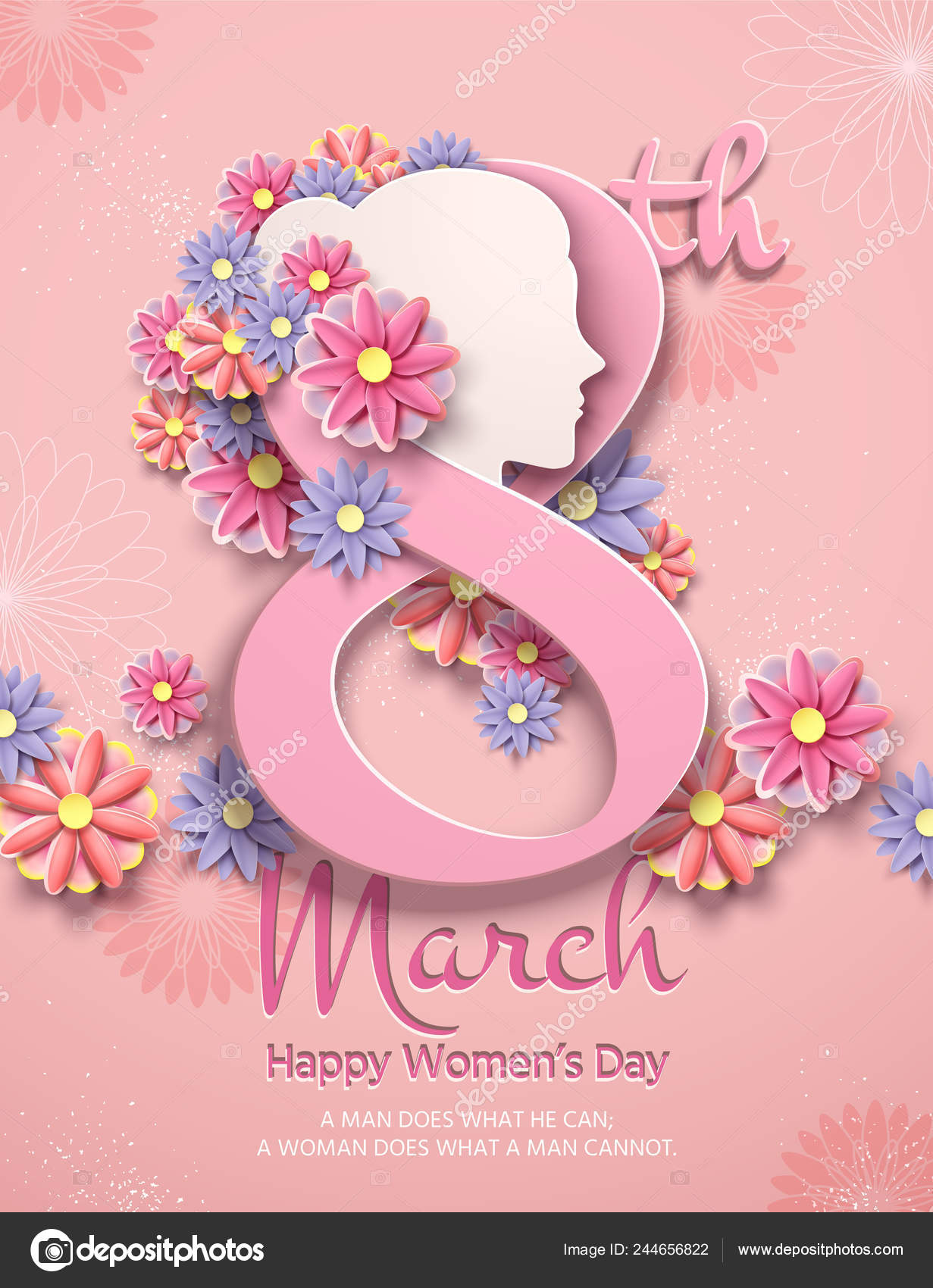 march women day poster paper flowers light pink vector image by c kchungtw vector stock 244656822