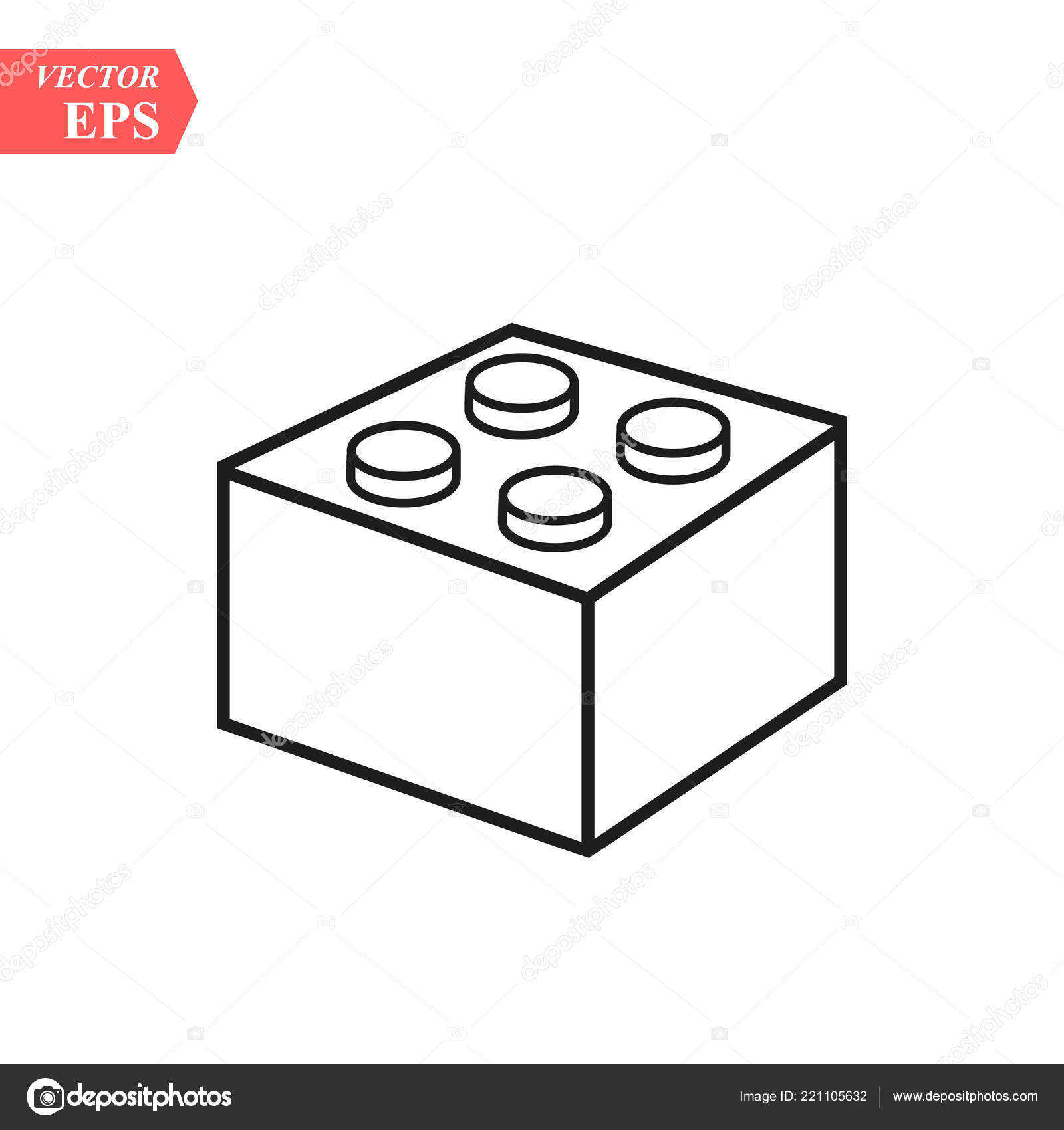 Lego Brick Block Piece Line Art Vector Icon Toy Apps