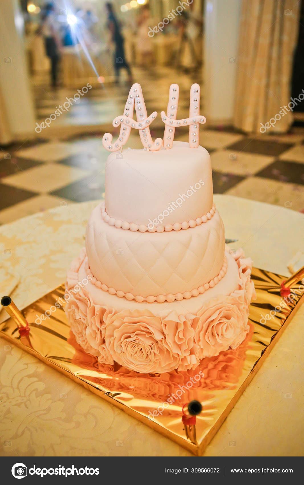 Three Tier Birthday Cake White Cream Mastic Stock Photo Image By C Yunafoto 309566072