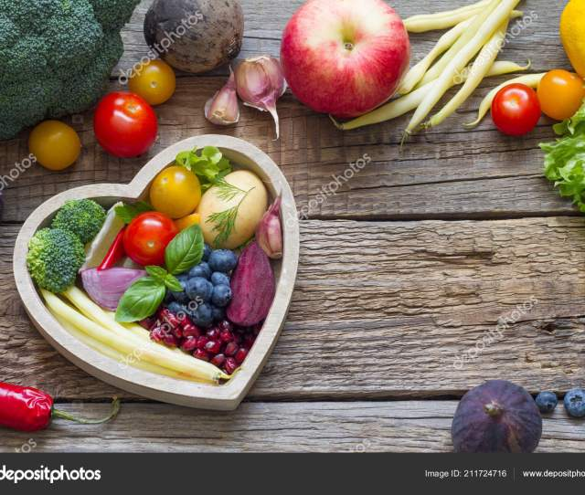 Healthy Food Heart Diet Cooking Concept Fresh Fruits Vegetables Stock Photo
