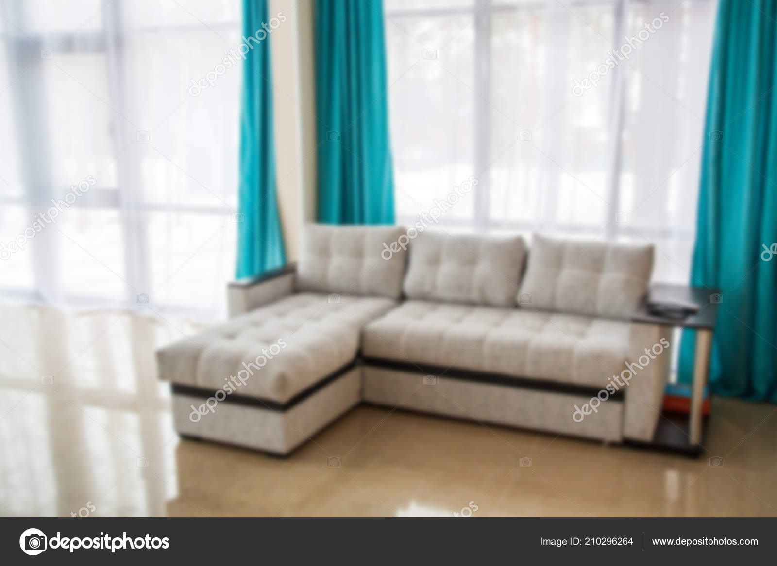 Blurred Living Room Gray Sofa Light Interior Blue Curtains