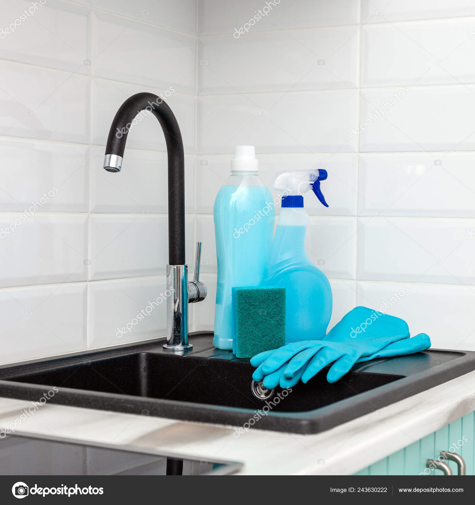 https depositphotos com 243630222 stock photo set blue cleaning products tools html
