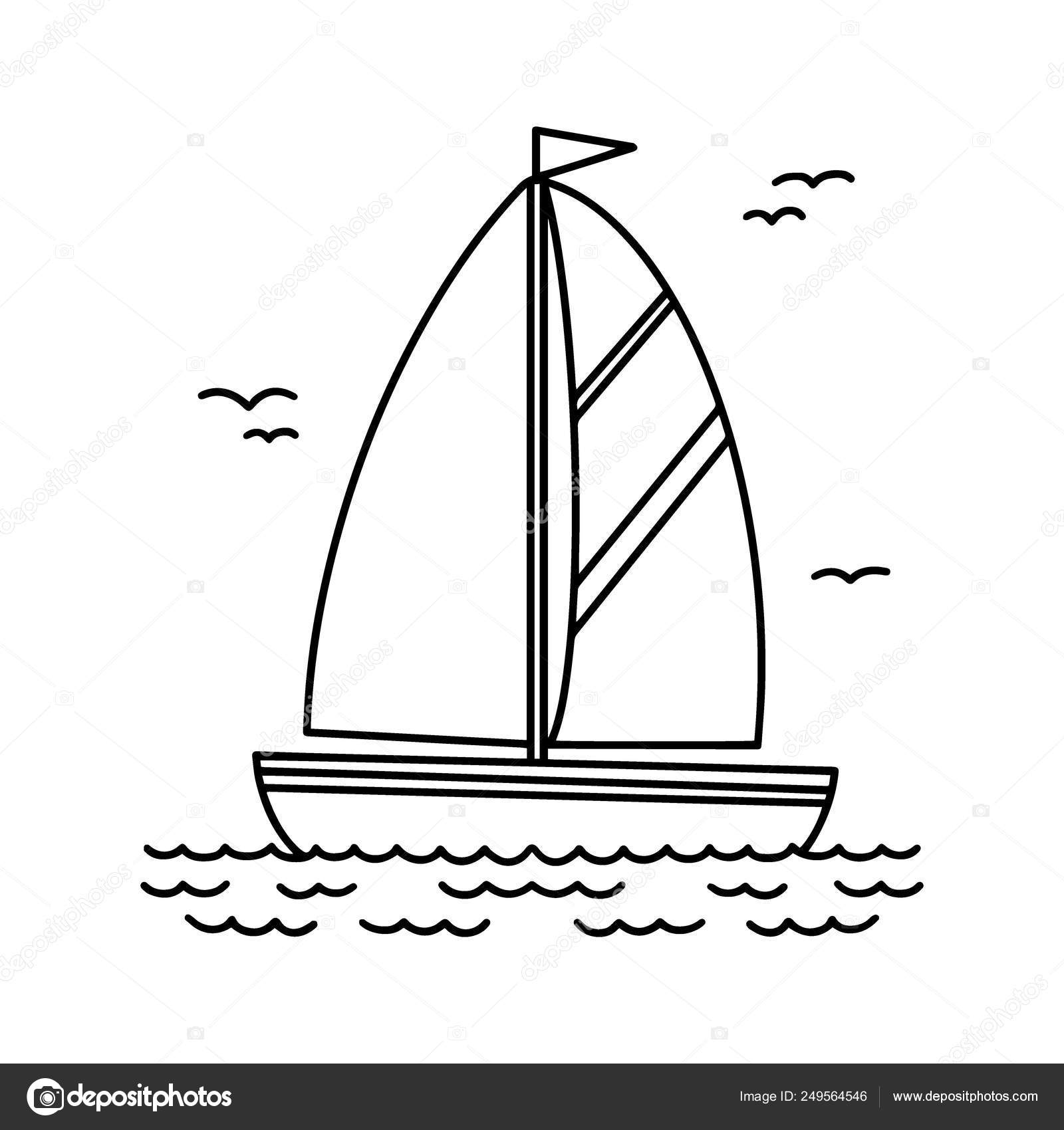 Pictures Boat Cartoon Black And White