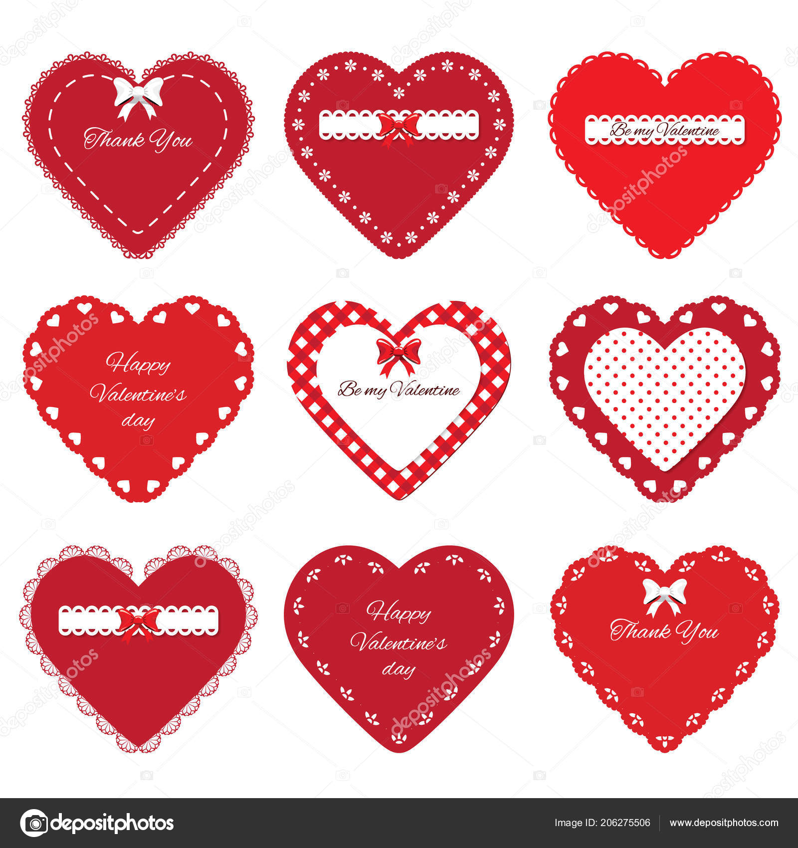 Valentines Day Stickers Decorative Cut Out Red Hearts Set Isolated