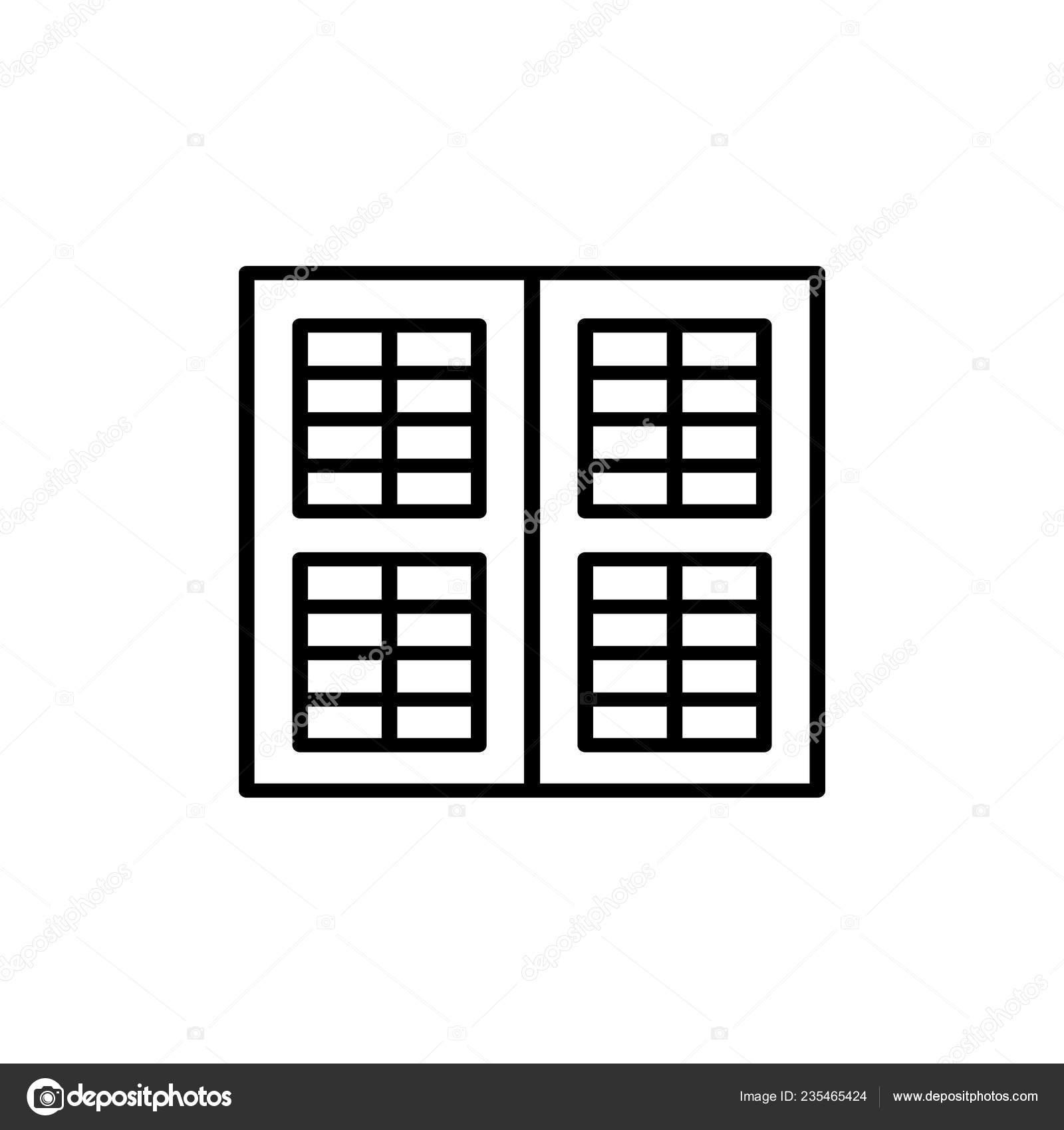Black White Illustration Old Louver Window Shutter Vector