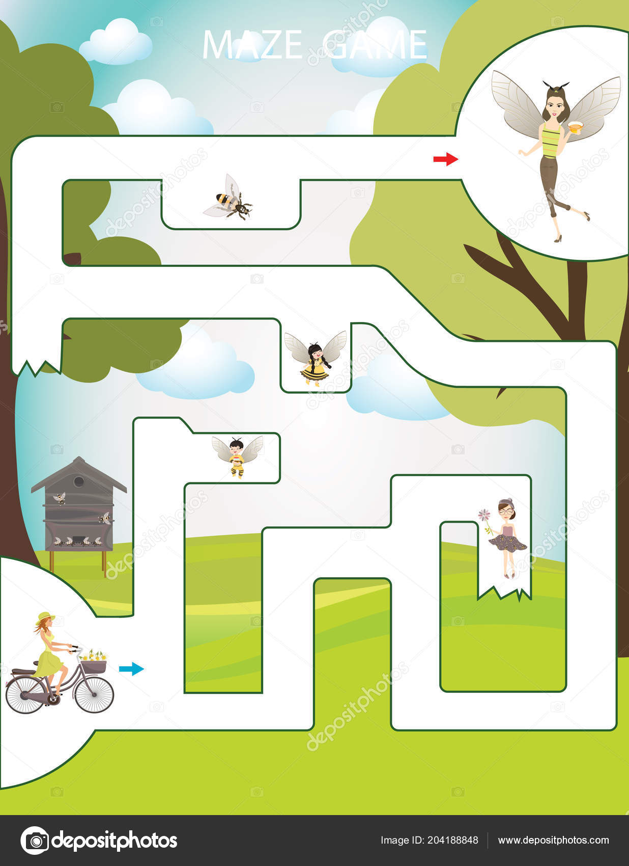 Apiary Maze Game Children Kids Busy Page Preschool
