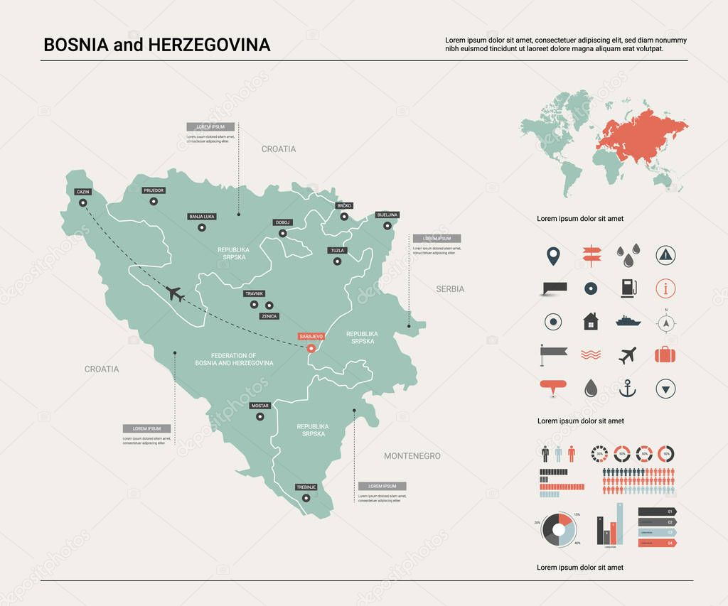Vector Map Of Bosnia And Herzegovina High Detailed Country Map With Division Cities And Capital Sarajevo Political Map World Map Infographic Elements Premium Vector In Adobe Illustrator Ai Ai