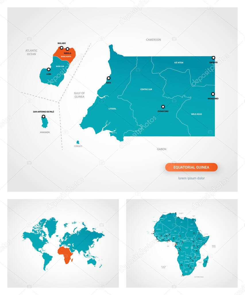 Editable Template Of Map Of Equatorial Guinea With Marks Equatorial Guinea On World Map And On Africa Map Premium Vector In Adobe Illustrator Ai Ai Format Encapsulated Postscript Eps Eps Format
