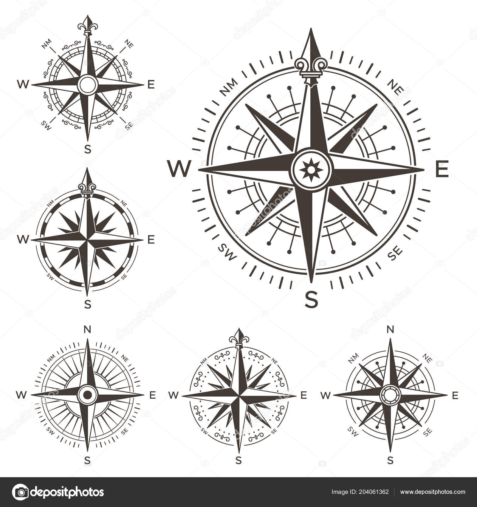 Retro Nautical Compass Vintage Rose Of Wind For Sea World