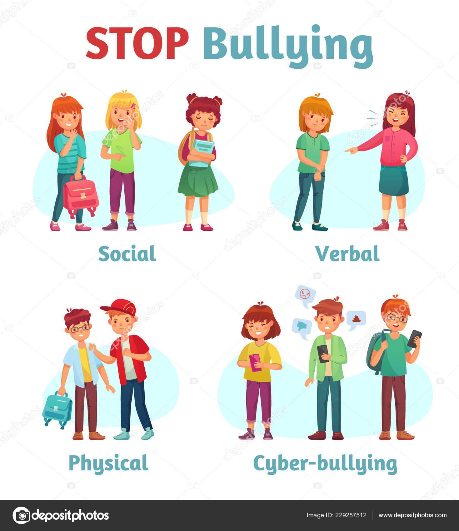 Stop School Bullying Aggressive Teen Bully Schooler