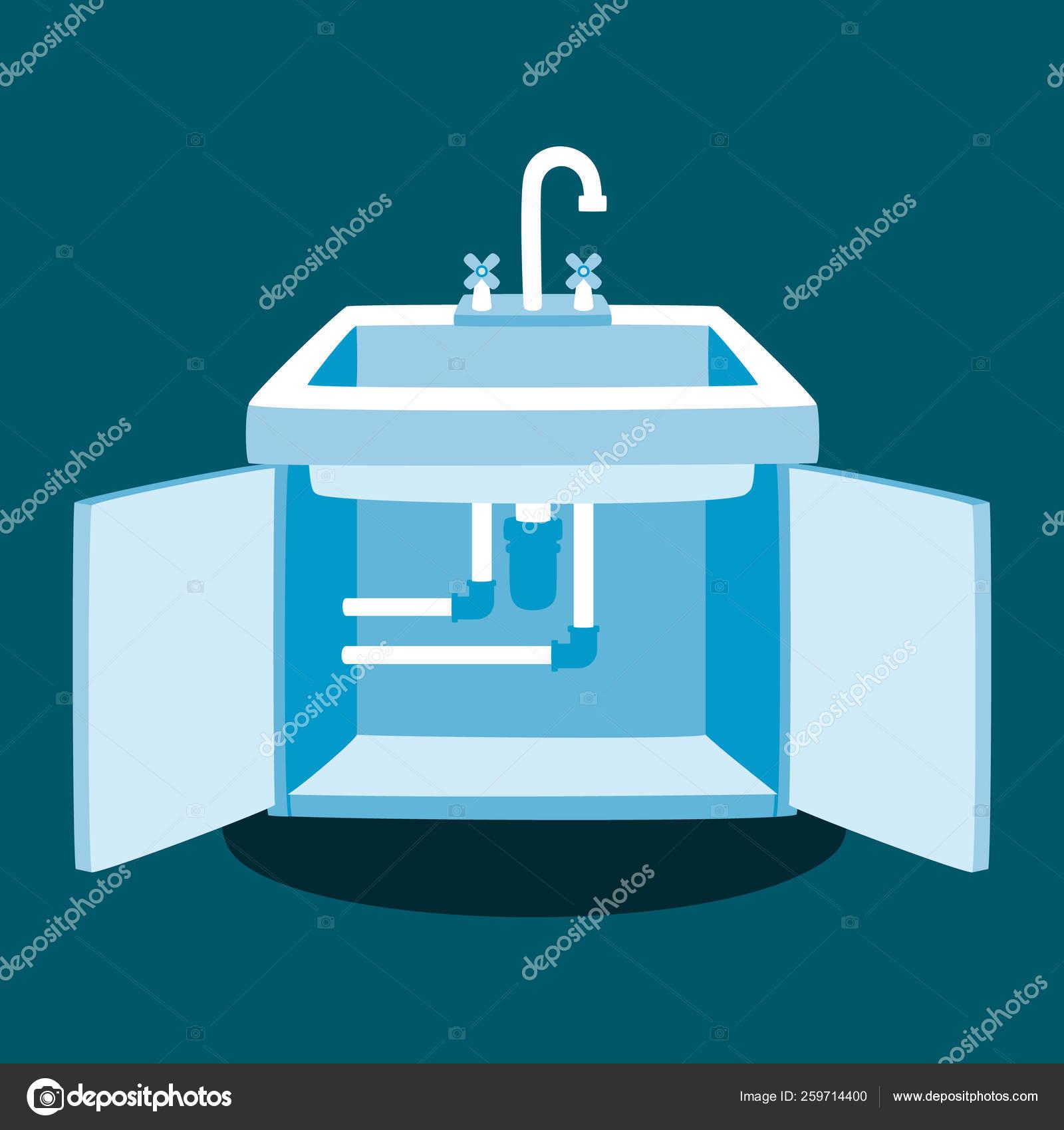 https depositphotos com 259714400 stock illustration kitchen faucet repair vector illustration html