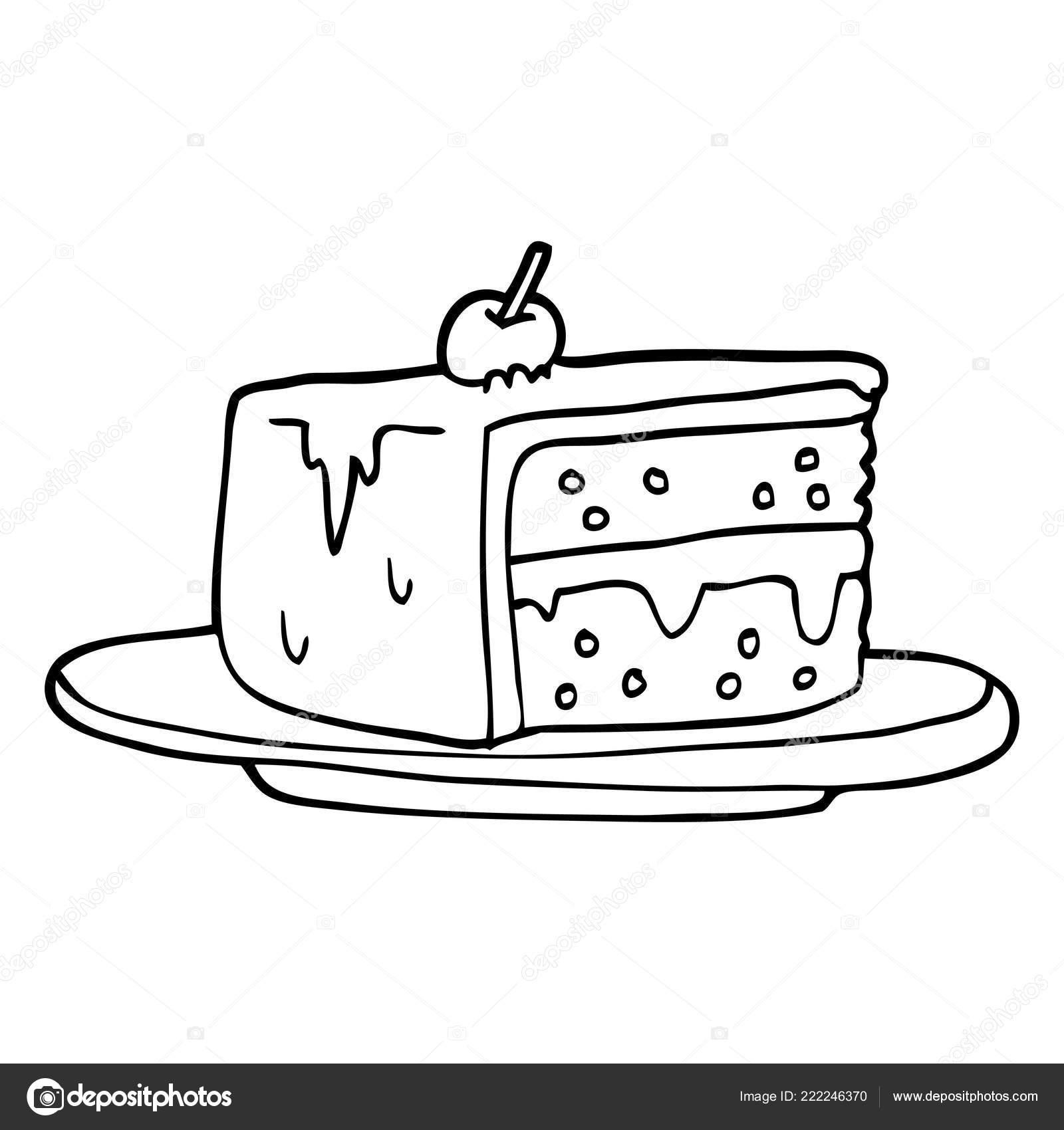 Line Drawing Cartoon Slice Cake