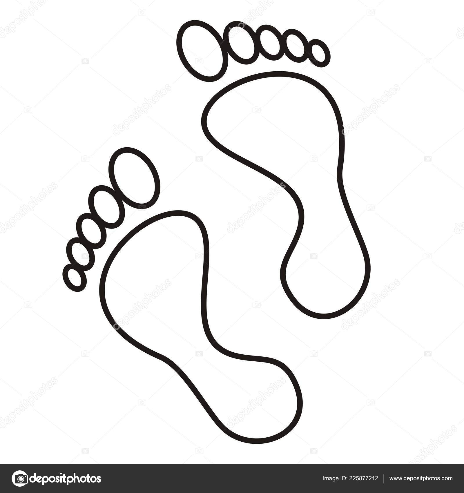 Two Feet Contour Drawing Vector Icon