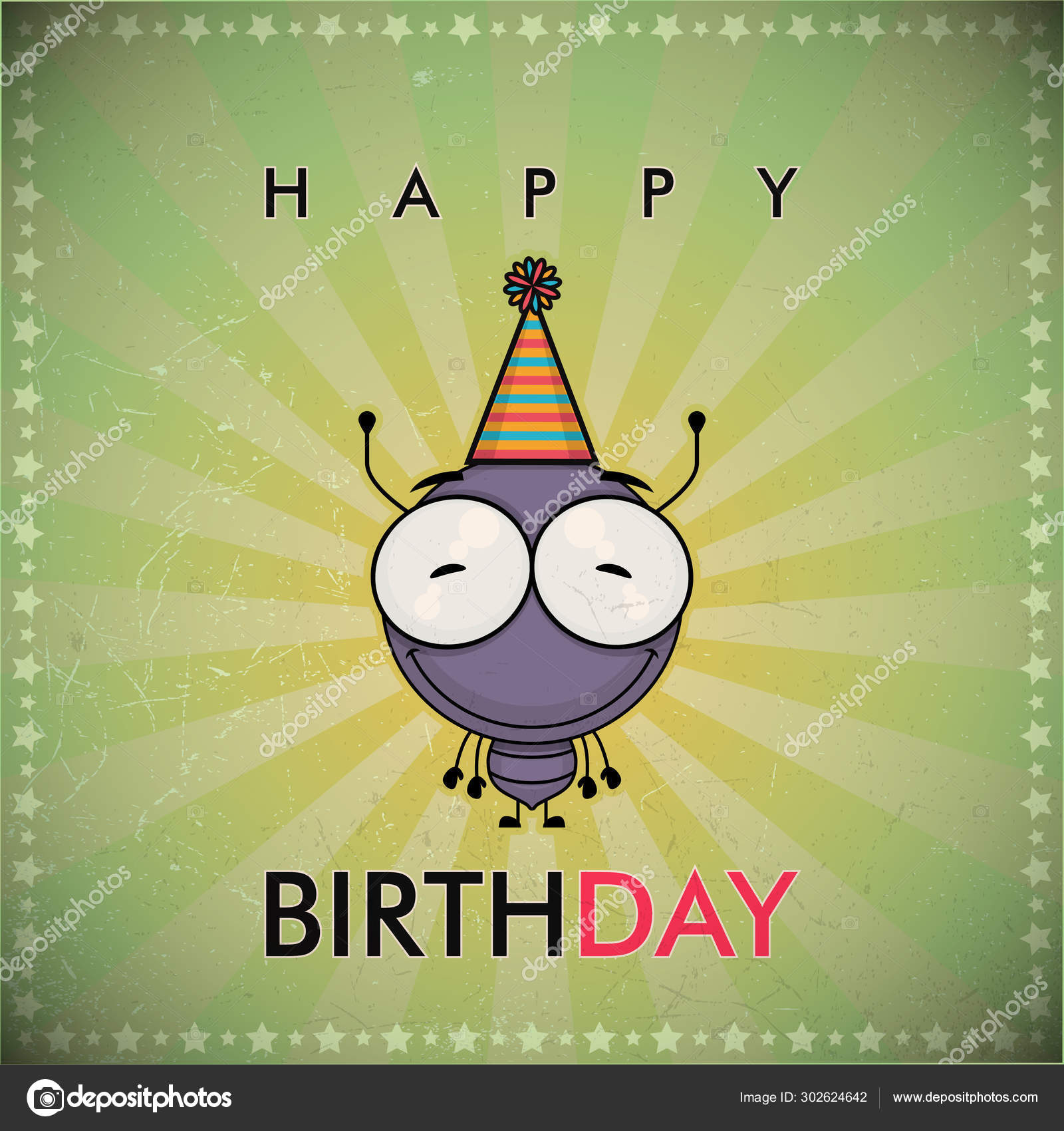 Funny Happy Birthday Greeting Card With Cute Cartoon Ant Vector Image By C R Lion O Vector Stock 302624642