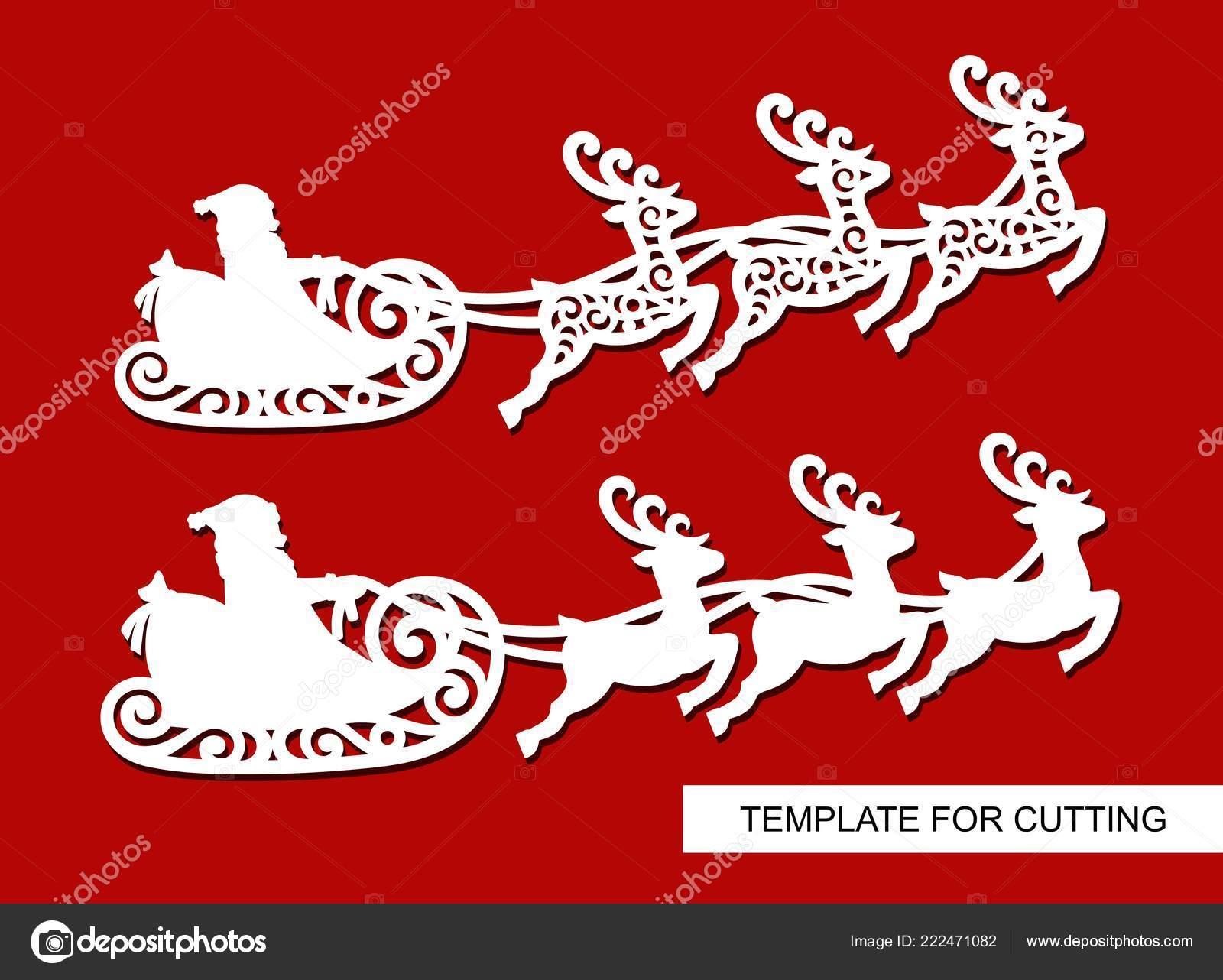 Set Decorazione Natale Siluette Volare Una Slitta Con Renne