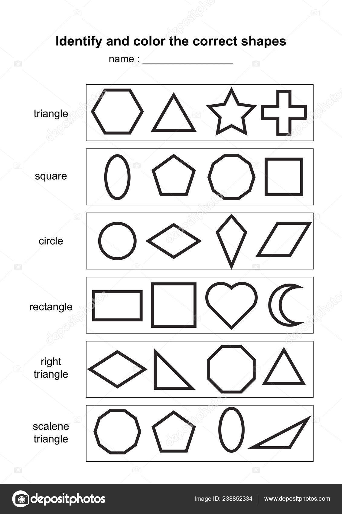 Identify Color Correct Shapes Educational Geometric Shapes